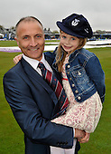 Scotland V England at Mannofield - Aberdeen - One Day International - former Scotland captain George Salmond - with daughter Courtney (7) - celebrate his inclusion in the Cricket Scotland Hall of Fame - George is now a Grade One referee in Scottish football - picture by Donald MacLeod - 09.05.14 – 07702 319 738 – clanmacleod@btinternet.com – www.donald-macleod.com