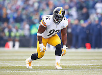 James Harrison #92 of the Pittsburgh Steelers in action against the Seattle Seahawks during the game at CenturyLink Field on November 29, 2015 in Seattle, Washington. (Photo by Jared Wickerham/DKPittsburghSports)