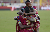 IBAGUÉ -COLOMBIA, 04-12-2016. Jugadores de Deportes Tolima celebran la victoria sobre Patriotas FC en partidode vuelta por los cuarots de final de la Liga Águila II 2016 jugado en el estadio Manuel Murillo Toro de Ibagué. / Players of Deportes Tolima celebrates the victory over Patriotas FC in second leg match for the final quarters of the Aguila League II 2016 played at Manuel Murillo Toro stadium in Ibague city. Photo: VizzorImage / Juan Carlos Escobar / Str