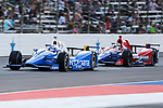 Verizon IndyCar Series driver Scott Dixon (9) and Verizon IndyCar Series driver Alexander Rossi (98) in action during the RainGuard 600 race at Texas Motor Speedway in Fort Worth,Texas.