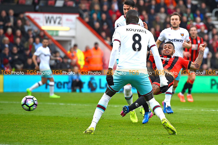 Joshua King of AFC Bournemouth scores the equalising goal to make the score 1-1- during AFC Bournemouth vs West Ham United, Premier League Football at the Vitality Stadium on 11th March 2017