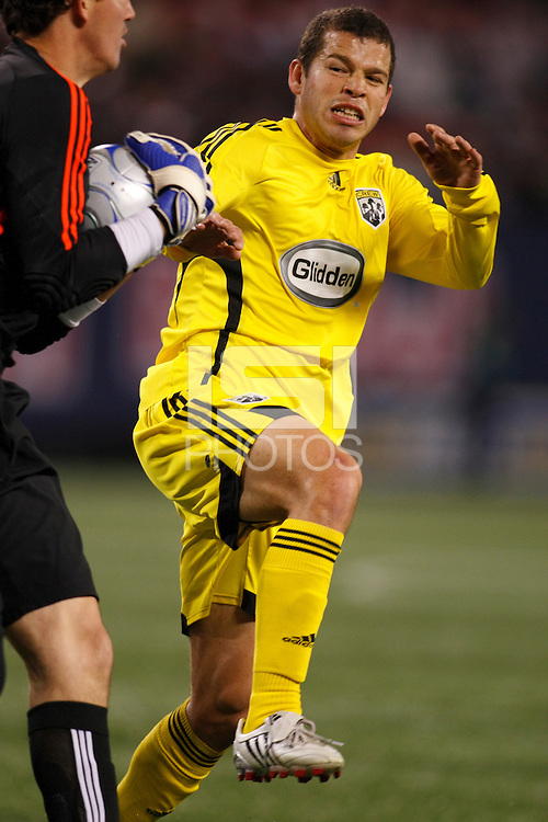 Columbus Crew forward Alejandro Moreno (10) looks to avoid crashing into New York Red Bulls goalkeeper Jon Conway (18). The New York Red Bulls defeated the Columbus Crew 2-0 during a Major League Soccer match at Giants Stadium in East Rutherford, NJ, on April 5, 2008.