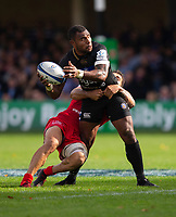 Bath Rugby's Semesa Rokoduguni is tackled by Toulouse Rugby's Sofiane Guitoune<br /> <br /> Photographer Bob Bradford/CameraSport<br /> <br /> European Rugby Champions Cup - Bath Rugby v Toulouse - Saturday 13th October 2018 - The Recreation Ground - Bath<br /> <br /> World Copyright &copy; 2018 CameraSport. All rights reserved. 43 Linden Ave. Countesthorpe. Leicester. England. LE8 5PG - Tel: +44 (0) 116 277 4147 - admin@camerasport.com - www.camerasport.com