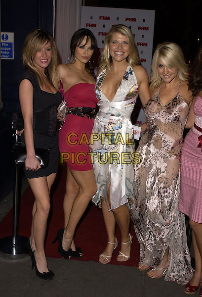 JERRI BYRNE, VANESSA NIMMO & GUESTS.The FHM 100 Sexiest Women In The World Party 2006 at Madame Tussauds, London, UK. .May 3rd, 2006.Ref: CAN.full length white print dress pink brown black Jeri.www.capitalpictures.com.sales@capitalpictures.com.©Capital Pictures