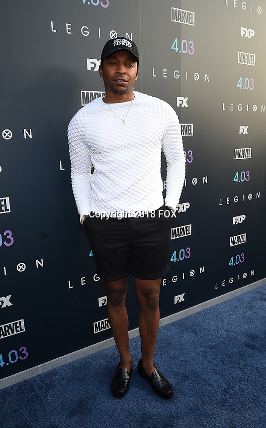 """LOS ANGELES, CA - APRIL 2: Malcolm Mays attends the season two premiere of FX's """"Legion"""" at the DGA Theater on April 2, 2018 in Los Angeles, California. (Photo by Frank Micelotta/FX/PictureGroup)"""