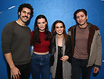 """Joel Perez, Jennifer Damiano, Ana Nogueira and Michael Zegen from the cast of The New Group production of """"Bob & Carol & Ted & Alice"""" at the Linney Theatre on January 26, 2020 in New York City."""