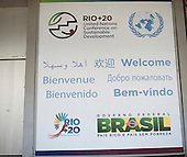 "A ""Welcome"" sign in several languages at the Rio Centre venue. United Nations Conference on Sustainable Development (Rio+20), Rio de Janeiro, Brazil. Photo © Sue Cunningham."