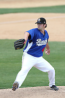 Andy Suiter #41 of the Rancho Cucamonga Quakes pitches against the High Desert Mavericks at The Epicenter in Rancho Cucamonga,California on May 8, 2011. Photo by Larry Goren/Four Seam Images