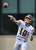 Matthew Sluka #10, Kellenberg quarterback, throws a pass during the second quarter of an NSCHSAA varsity football game against host Chaminade High School in Mineola on Sunday, Oct. 14, 2018. Kellenberg won by a score of 42-14.