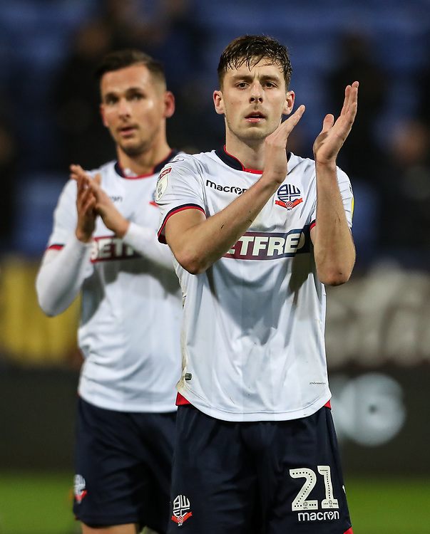 Bolton Wanderers' Joe Williams applauds the fans at the end of the match<br /> <br /> Photographer Andrew Kearns/CameraSport<br /> <br /> The EFL Sky Bet Championship - Bolton Wanderers v Rotherham United - Wednesday 26th December 2018 - University of Bolton Stadium - Bolton<br /> <br /> World Copyright © 2018 CameraSport. All rights reserved. 43 Linden Ave. Countesthorpe. Leicester. England. LE8 5PG - Tel: +44 (0) 116 277 4147 - admin@camerasport.com - www.camerasport.com