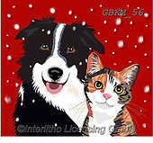 Kate, CHRISTMAS ANIMALS, WEIHNACHTEN TIERE, NAVIDAD ANIMALES, paintings+++++Cat and dog in snow 2,GBKM56,#xa# ,dog,dogs ,cat,cats