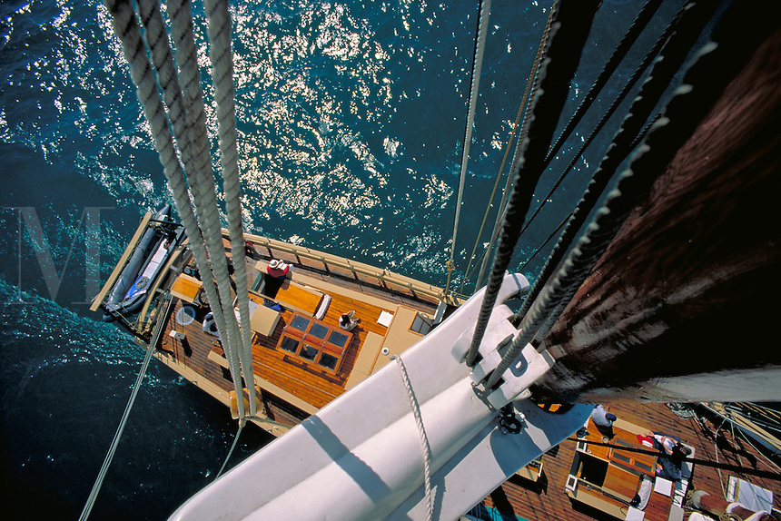 View from mast of the twin-masted topsail schooner used for cruises on Lake Michigan out of Northport; operated by Traverse Tall Ships Company, Traverse City, aerial. Lake Michigan Michigan USA.