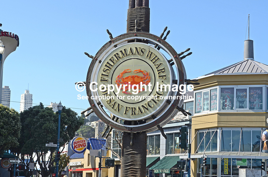 Logo, signage, Fisherman's Wharf, San Francisco, California, USA, 201304131258<br /> <br /> Copyright Image from Victor Patterson, 54 Dorchester Park, Belfast, UK, BT9 6RJ<br /> <br /> Tel: +44 28 9066 1296<br /> Mob: +44 7802 353836<br /> Voicemail +44 20 8816 7153<br /> Skype: victorpattersonbelfast<br /> Email: victorpatterson@me.com<br /> Email: victorpatterson@ireland.com (back-up)<br /> <br /> IMPORTANT: If you wish to use this image or any other of my images please go to www.victorpatterson.com and click on the Terms &amp; Conditions. Then contact me by email or phone with the reference number(s) of the image(s) concerned.