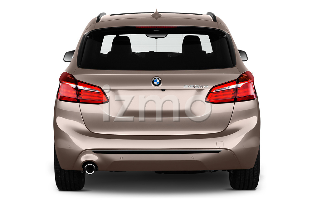 Straight rear view of a 2018 BMW 2 Series 225xe iperformance 5 Door Mini Van stock images