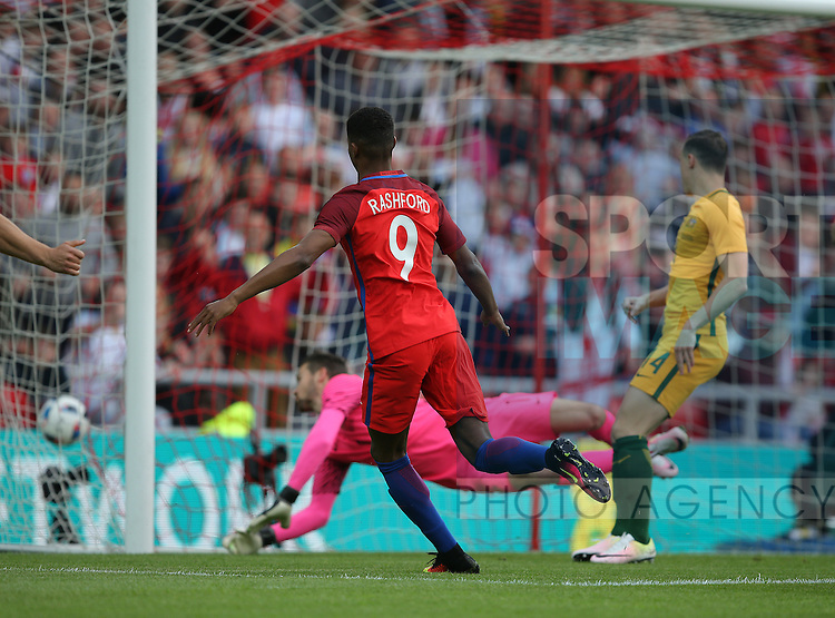 Marcus Rashford of England scoring the first goal during the International Friendly match at the Stadium of Light, Sunderland. Photo credit should read: Simon Bellis/Sportimage