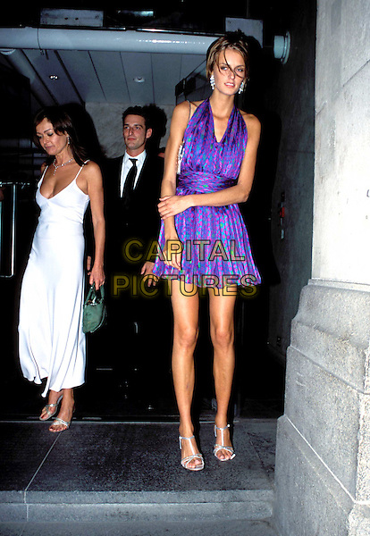 JAQUETTA WHEELER.Lycra British Style Awards 2003, Old Billingsgate Market, EC3.polka dots, purple halterneck dress, fashion disaster, full length, full-length, skinny, thin.www.capitalpictures.com.sales@capitalpictures.com.© Capital Pictures