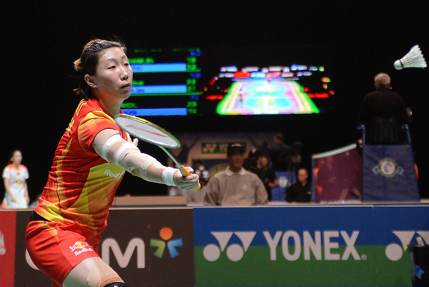 Xiaoli WANG [1][CHN] and Yang (F) YU [CHN] in action today during their victory over Kyung Eun JUNG [7][KOR] and Ha Na KIM [KOR] in their Women's Doubles Quarter final match. Xiaoli WANG [1][CHN] and Yang (F) YU [CHN] bt Kyung Eun JUNG [7][KOR] and Ha Na KIM [KOR]   21-18 21-14...BWF -  2013 Yonex All England Badminton Championships Super Series Premier - The National Indoor Arena - Birmingham - England - Friday 08th March 2013..© CameraSport - 43 Linden Ave. Countesthorpe. Leicester. England. LE8 5PG - Tel: +44 (0) 116 277 4147 - admin@camerasport.com - www.camerasport.com