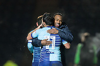 Myles Weston embraces Sam Wood of Wycombe Wanderers at full time during the Sky Bet League 2 match between Wycombe Wanderers and Newport County at Adams Park, High Wycombe, England on 2 January 2017. Photo by Andy Rowland.