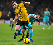 11th February 2019, Molineux, Wolverhampton, England; EPL Premier League football, Wolverhampton Wanderers versus Newcastle United; Diogo Jota of Wolverhampton Wanderers gets the ball away from Deandre Yedlin of Newcastle United