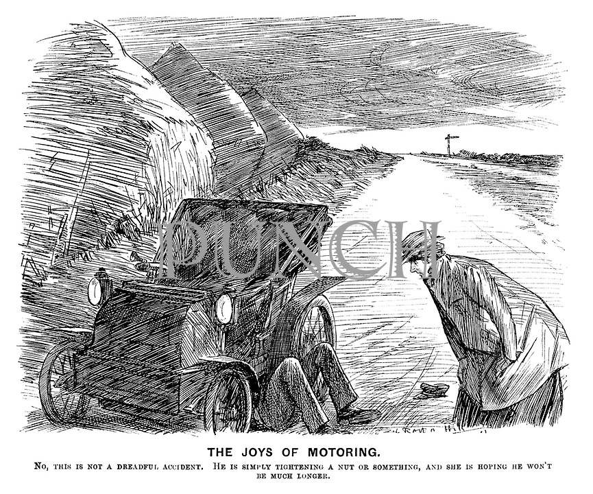 The Joys of Motoring. No, this is not a dreadful accident. He is simply tightening a nut or something, and she is hoping he won't be much longer. (an early motoring street scene showing a broken down car in the countryside)
