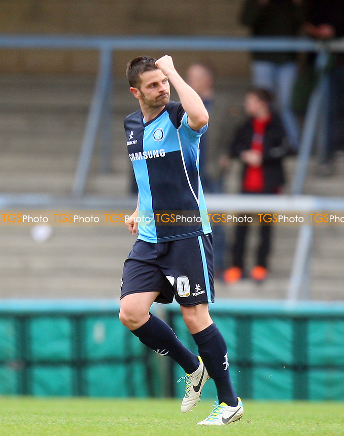 Steven Craig of Wycombe Wanderers celebrates scoring the opening goal - Wycombe Wanderers vs Dagenham and Redbridge, Sky Bet League Two Football at the Adams Park Stadium - 05/04/14 - MANDATORY CREDIT: Dave Simpson/TGSPHOTO - Self billing applies where appropriate - 0845 094 6026 - contact@tgsphoto.co.uk - NO UNPAID USE