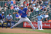 Oklahoma City Dodgers starting pitcher Tyler Pill (21) throws a pitch against the Omaha Storm Chasers at Werner Park on June 24, 2018 in Omaha, Nebraska. Omaha won 8-0.  (Dennis Hubbard/Four Seam Images)