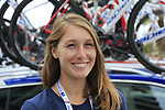 Groupama-FDJ team media officer Marion Gachies at the team bus before the start of Stage 4 of La Vuelta 2019 running 175.5km from Cullera to El Puig, Spain. 27th August 2019.<br /> Picture: Eoin Clarke | Cyclefile<br /> <br /> All photos usage must carry mandatory copyright credit (© Cyclefile | Eoin Clarke)
