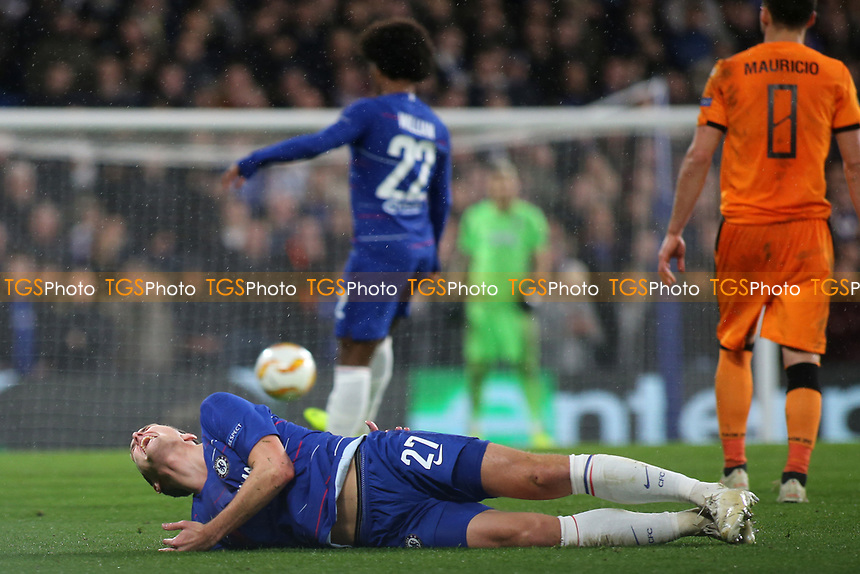 Andreas Christensen of Chelsea lies injured on the ground after falling awkwardly during Chelsea vs PAOK Salonika, UEFA Europa League Football at Stamford Bridge on 29th November 2018