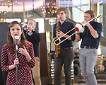 Laura Osnes and cast perform during the 'Bandstand' Broadway cast press presentation at the Rainbow Room on March 7, 2017 in New York City.