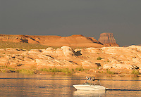 small ski boat and evening light at Lake Powell