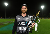 10th February 2019, Seddon Park, Hamilton, New Zealand; 3rd T20 International, New Zealand versus India;    New Zealand captain Kane Williamson with the series winning trophy