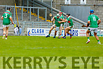 Ballyduff's Padraig Boyle deep inside the 20 metre line as   Crotta O'Neills Sean Weir and Tomas O'Connor put him under pressure in the Senior Hurling Championship 1st round game in Austin Stack Park on Saturday.