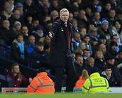 3rd December 2017, Etihad Stadium, Manchester, England; EPL Premier League football, Manchester City versus West Ham United; David Moyes manager of West Ham is not happy with referee Mike Dean's decision
