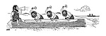 (Cavemen chiselling out a dugout canoe encouraged by a cox with a loud hailer)