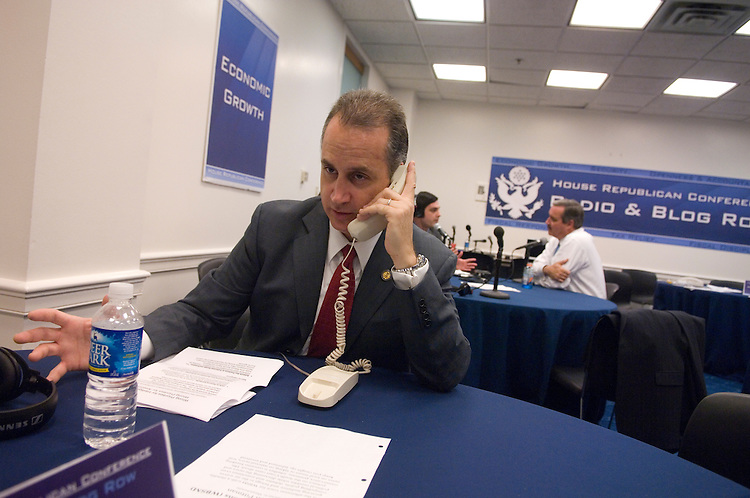 Rep. Mario Diaz-Balart, R-Fla., talks to Ken Pittman, WBSM radio, during the House Republican Conference's Virtual Radio Row, where members spoke to national and regional radio shows across the country.