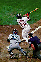 SAN FRANCISCO, CA - Barry Bonds of the San Francisco Giants bats during game 3 of the NLDS against the Florida Marlins at Candlestick Park in San Francisco, California in 1997. (Photo by Brad Mangin)