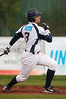 16 October 2010: Jerome Dussart of Savigny is seen at bat during Rouen 16-4 win over Savigny, during game 1 of the French championship finals, in Savigny sur Orge, France.