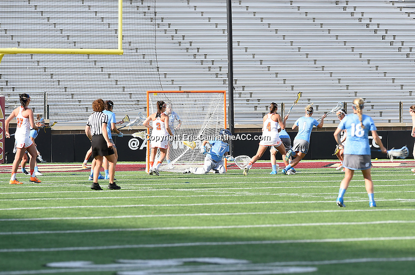 North Carolina and Syracuse face off during the 2014 ACC Women's Lacrosse Semifinals in Boston, MA, Friday, April 25, 2014. (Photo by Eric Canha,<br /> theACC.com)