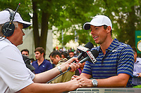 Leader after two rounds, Rory McIlroy (NIR) is interviewed by ESPN following round 2 of the World Golf Championships, Mexico, Club De Golf Chapultepec, Mexico City, Mexico. 3/3/2017.<br />