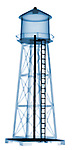 X-ray image of a water tower (blue on white) by Jim Wehtje, specialist in x-ray art and design images.