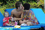 Jack Shepherd who plays David Platt in Coronation Street pictured on holiday in Greece with his long term girlfriend Lauren Shippey and daughter Nyla Rae