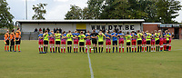 20190907 – ZWEVEZELE , BELGIUM : Zwevezele's and Wolvertem's players pictured during a minute of silence prior to a women soccer game between Dames KSK Voorwaarts Zwevezele  and  Hoger Op Wolvertem Merchtem Ladies  on the second round matchday of the Belgian Women's Cup – Beker van Belgie -  season 2019-2020 , saturday 7th September  2019  in Zwevezele  , Belgium  .  PHOTO SPORTPIX.BE | DAVID CATRY