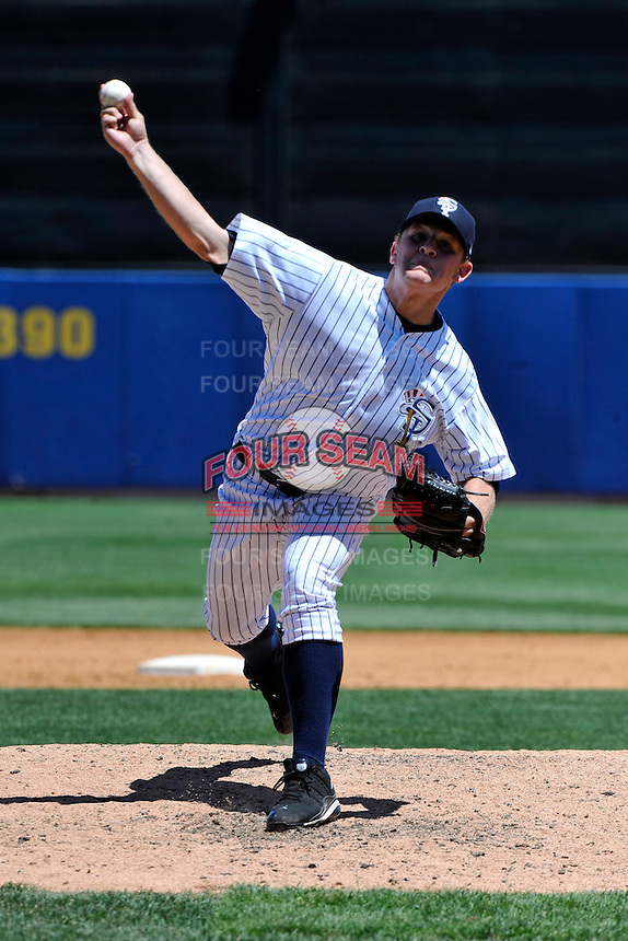 Staten Island Yankees pitcher Michael Recchia #50 during a game against the State College Spikes at Richmond County Bank Ballpark at St. George on July 14, 2011 in Staten Island, NY.  Staten Island defeated State College 6-4.  Tomasso DeRosa/Four Seam Images