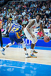 Real Madrid's Thompkins and UCAM Murcia's Rojas during the first match of the playoff at Barclaycard Center in Madrid. May 27, 2016. (ALTERPHOTOS/BorjaB.Hojas)