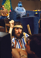 Jim Hen during filming of The Muppet Movie, CBS studios, Los Angeles, 1978. Photo by John G. Zimmerman.