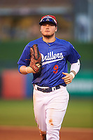 Tulsa Drillers center fielder Alex Verdugo (9) jogs to the dugout during a game against the Arkansas Travelers on April 25, 2016 at ONEOK Field in Tulsa, Oklahoma.  Tulsa defeated Arkansas 4-3.  (Mike Janes/Four Seam Images)