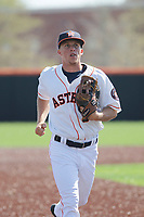 Buies Creek Astros outfielder Myles Straw (3) running in to the dugout during a game against the Winston-Salem Dash at Jim Perry Stadium on the campus of Campbell University on April 9, 2017 in Buies Creek, North Carolina. Buies Creek defeated Winston-Salem 2-0. (Robert Gurganus/Four Seam Images)