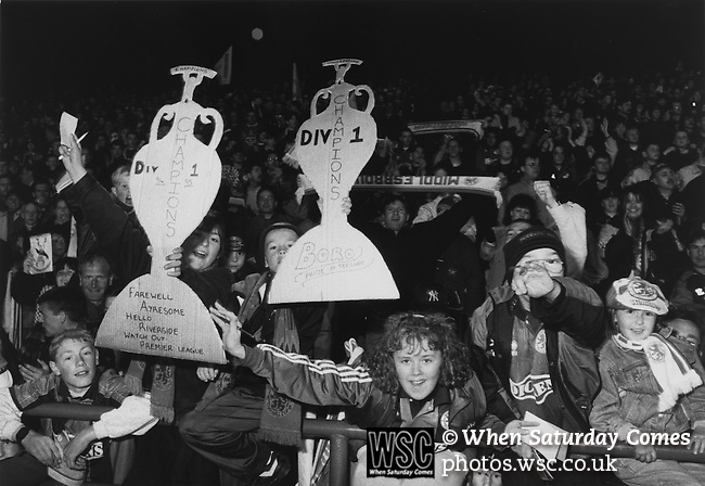 Boro fans celebrating promotion to the Premeir League at Steven Pears testimonial match, the last game ever played at Ayesome Park, May 16th 1995. Photo by Paul Thompson