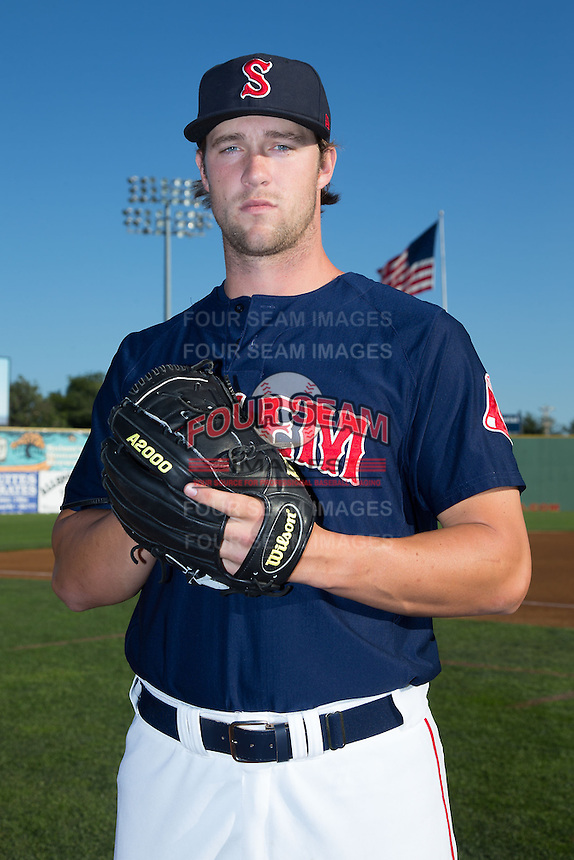 Salem Red Sox pitcher Jacob Dahlstrand (26) poses for a photo prior to the game against the Winston-Salem Dash at LewisGale Field at Salem Memorial Ballpark on May 13, 2015 in Salem, Virginia.  (Brian Westerholt/Four Seam Images)