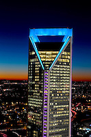 The Duke Energy Center is a key building on the skyline in downtown Charlotte, North Carolina.<br /> <br /> Charlotte Photographer - PatrickSchneiderPhoto.com